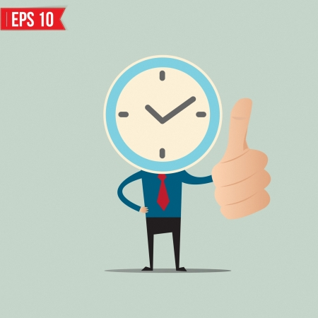 obscured face: Cartoon Business man with clock face  - Vector illustration
