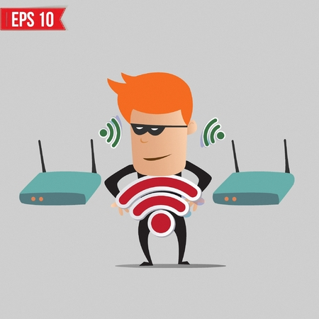 scammer: Hacker on  wireless network - Vector illustration