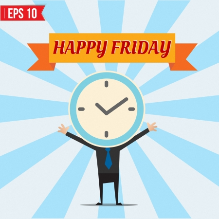 Cartoon Businessman happy friday - Vector illustration