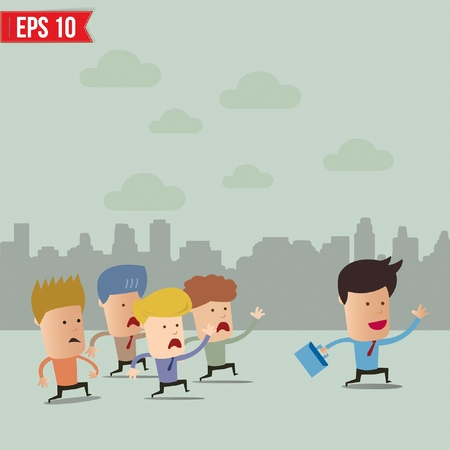 group leader: Business cartoon team group with leader  - Vector illustration