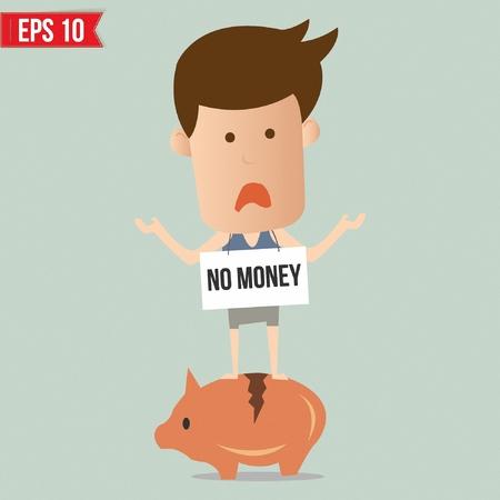 Business man standing on piggy bank - Vector illustration Vector
