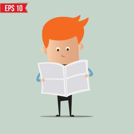 Business man reading newspaper - Vector illustration Vector