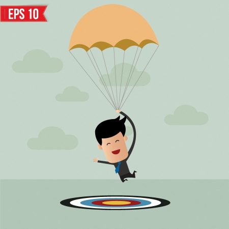 flying man: Business man with parachute on the target  - Vector illustration