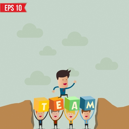 team working together: Businessman walking across the hill with help of teammates below - Vector illustration