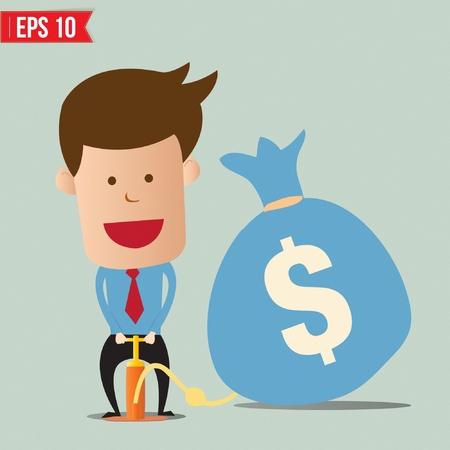 Caricatura del hombre de negocios de bombeo globo de dinero - ilustración vectorial