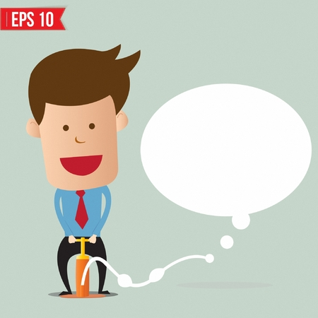 caption: Cartoon Business man pumping speech bubble balloon - Vector illustration