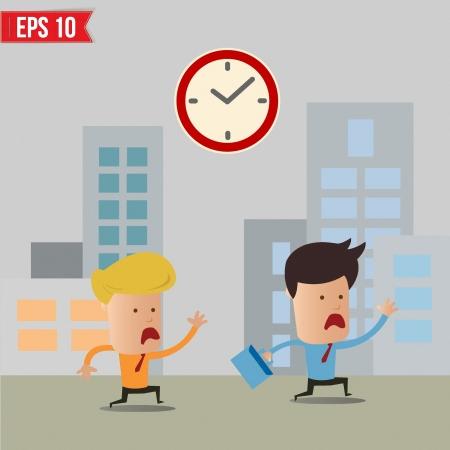 Businessmen running during rush hour - Vector illustration Vector