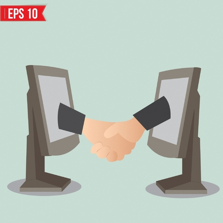 Virtual handshake - internet business concept - Vector illustration Vector