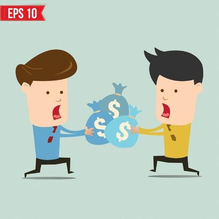 snatch: Cartoon businessmen snatching money - Vector illustration Illustration