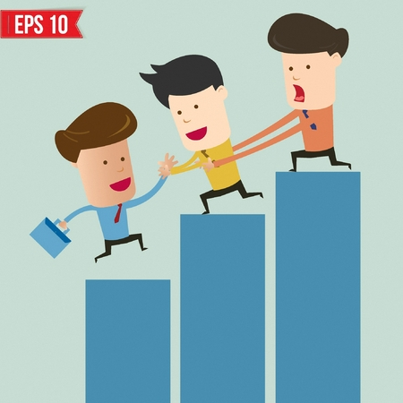 Cartoon businessman helping team climbing graph - Vector illustration Vector