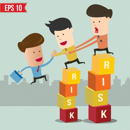 Cartoon businessman helping team climbing risk box - Vector illustration Vector
