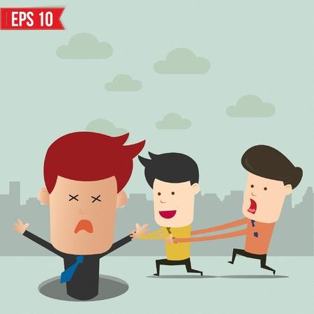 manager team: Cartoon businessmen helping team from falling into hole - Vector illustration Illustration
