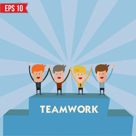 all smiles: Businessmen with teamwork spirit  - Vector illustration