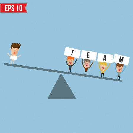 Businessmen with teamwork spirit as opposed to a businessman  - Vector illustration Vector