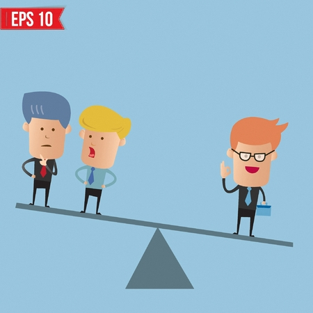 than: Businessman weighs more than 2 guys  - Vector illustration