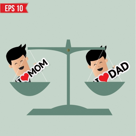 Man weighs between loving mom and dad  - Vector illustration Vector