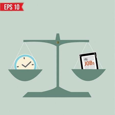 balance life: Balance of time and work  - Vector illustration