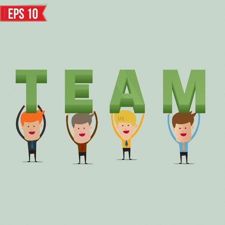 cartoon words: Businessmen showing Team 3d text  - Vector illustration