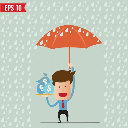Business cartoon holding umbrella for safety concept - Vector illustration Vector