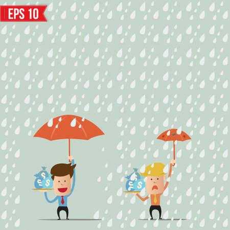 cartoon businessmen holding umbrella for safety concept - Vector illustration Vector