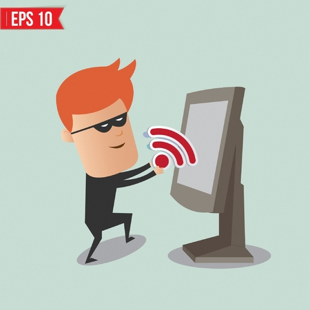 scammer: Hacker sniffing wireless network for computer security concept - Vector illustration Illustration