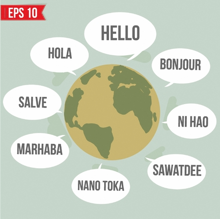 thai language: Hello in different languages in the world   - Vector illustration