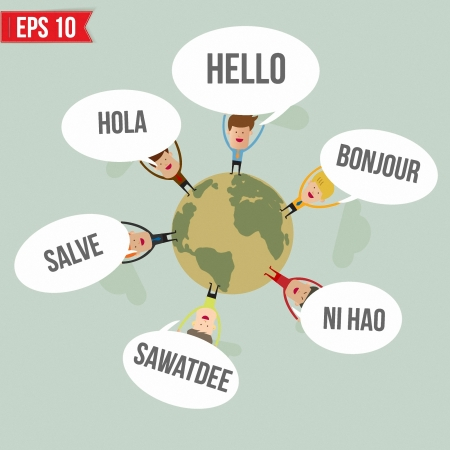 english: Hello in different languages in the world   - Vector illustration