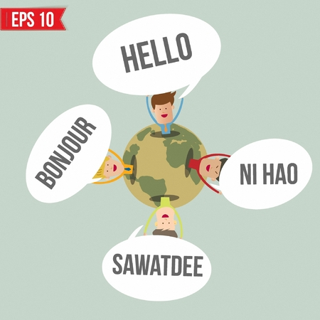 hola: Hello in different languages in the world   - Vector illustration  Illustration