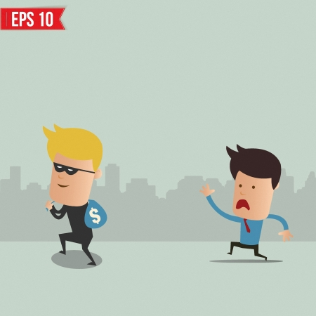 stealing money: Thief stealing money - Vector illustration