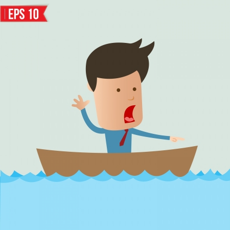 rowboat: Cartoon business man  rowing a boat - Vector illustration  Illustration