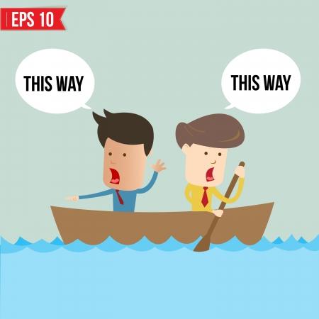 rowboat: Cartoon hombre de negocios que rema un barco - ilustraci�n vectorial Vectores