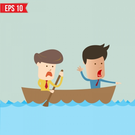 Cartoon business man  rowing a boat - Vector illustration Stock Vector - 24130706
