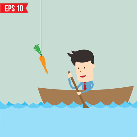 metaphoric: Cartoon business man  rowing a boat try to reach carrot - Vector illustration - EPS10