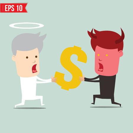 snatch: Devil and angel snatching money - Vector illustration
