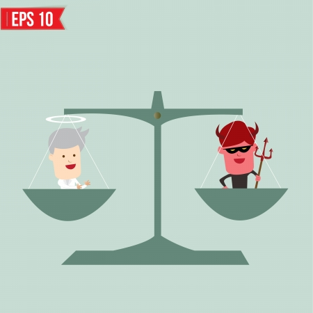 impartial: Balance of good and bad concept  - Vector illustration