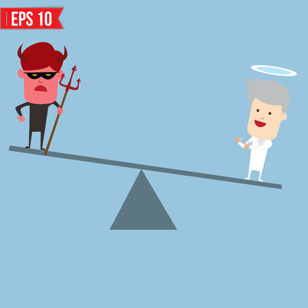impartial: Devil and angel comparison for good and bad concept - Vector illustration