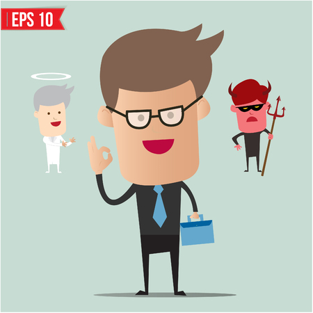 Business man select choice - Vector illustration  Vector
