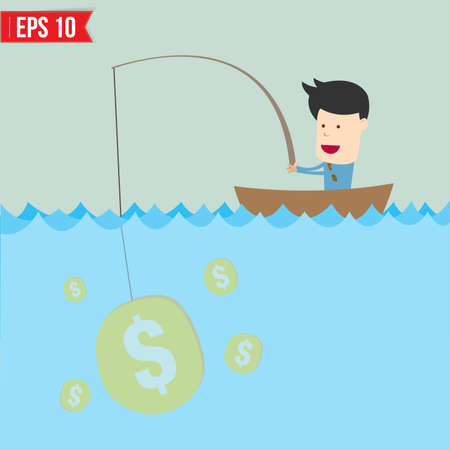 Cartoon businessman catching money in the sea - Vector illustration  Vector