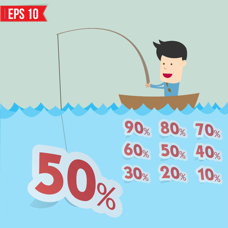 Cartoon businessman catching sale tag  in the sea - Vector illustration