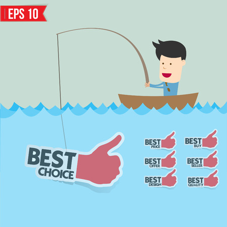 Cartoon businessman catching best tag  in the sea - Vector illustration  Vector