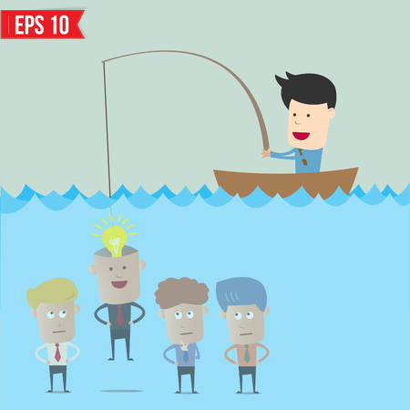 Cartoon businessman catching idea in the sea - Vector illustration  Vector