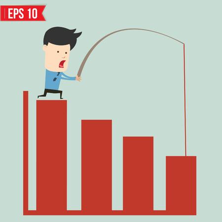 Business man pull bar chart - Vector illustration Stock Vector - 24130770