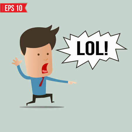 lol: Businessman laughing out loud  - Vector illustration  Illustration