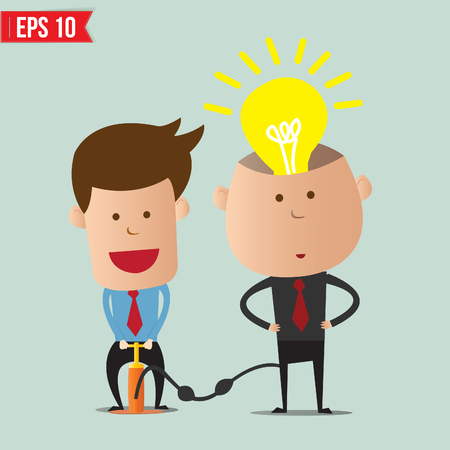 Cartoon Business man pump idea  - Vector illustration  Vector