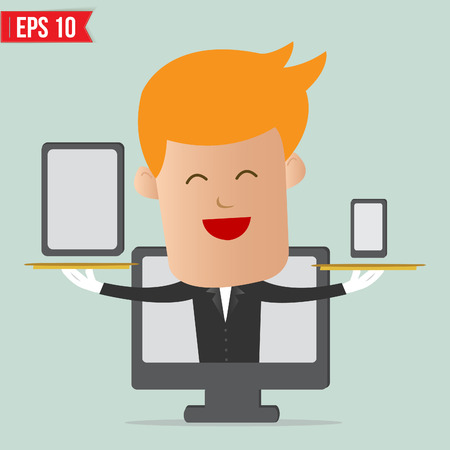 Cartoon business man show Responsive web design concept - Vector illustration Stock Vector - 24130812
