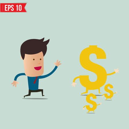 run away: Business man trying to catch money  - Vector illustration
