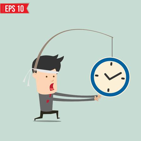 clock cartoon: Cartoon Business man trying to reach a clock  - Vector illustration