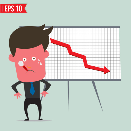 downfall: Cartoon business man present with red graph - Vector illustration  Illustration