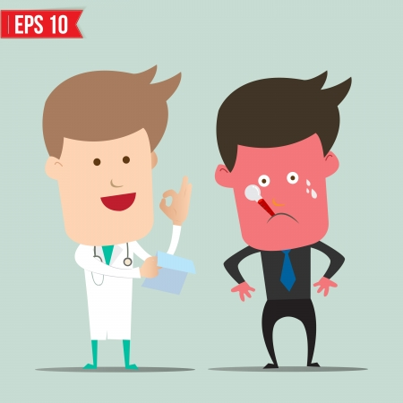 patients: Cartoon Doctor and patient - Vector illustration    Illustration