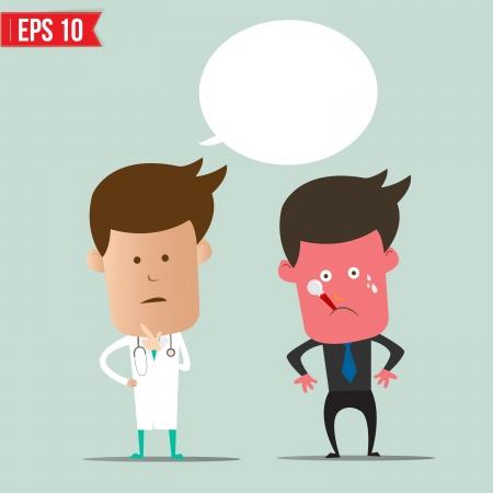 Cartoon Doctor and patient - Vector illustration  Vector